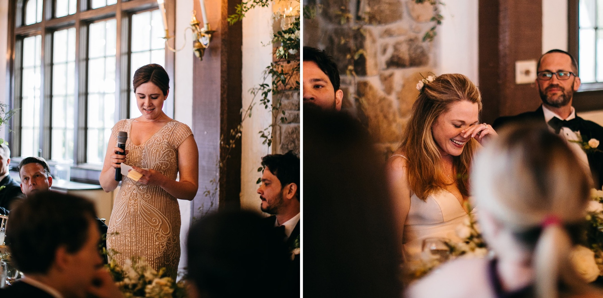 woman reads her toast while bride covers her face laughing