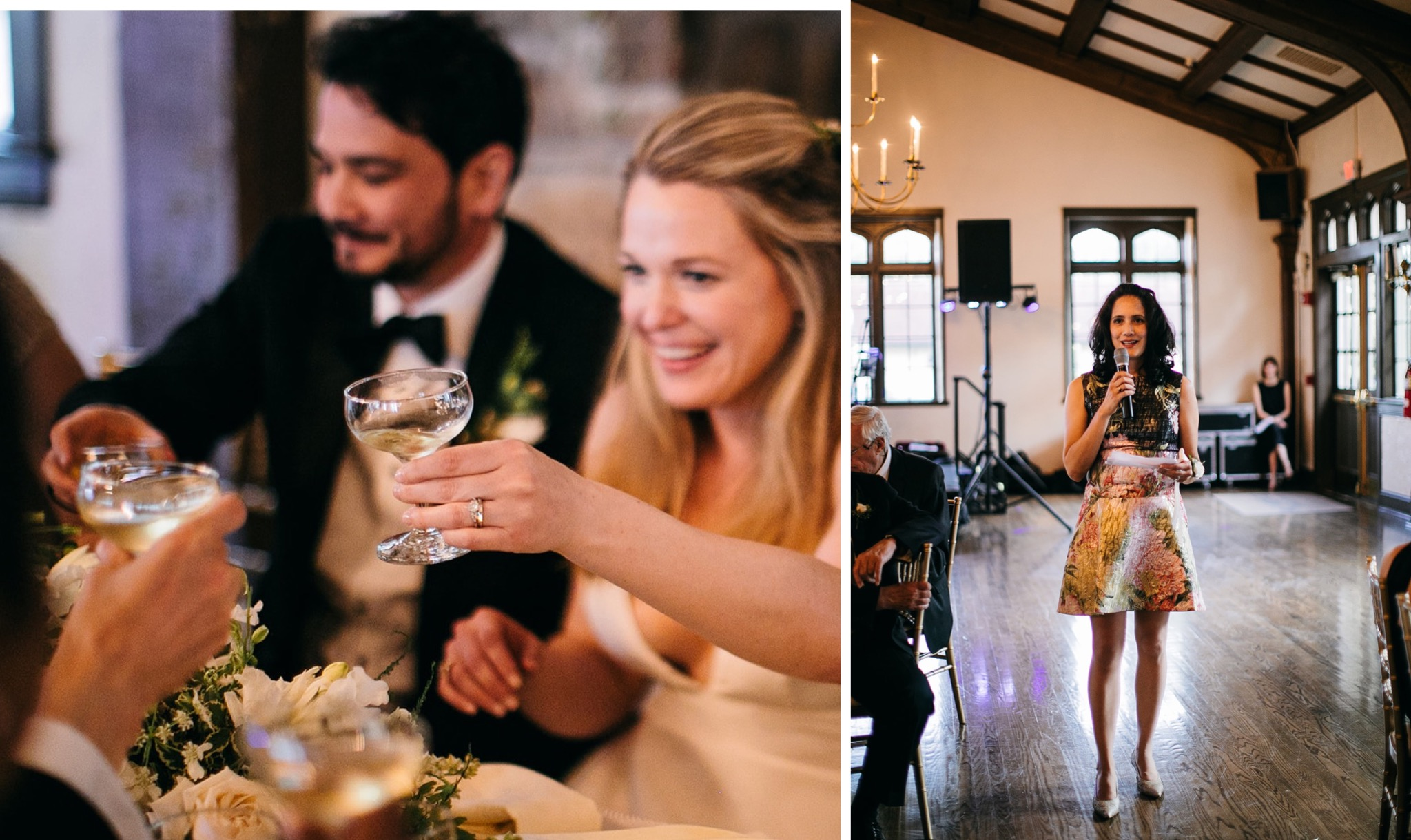 bride raises her glass to toast while a woman gives a speech