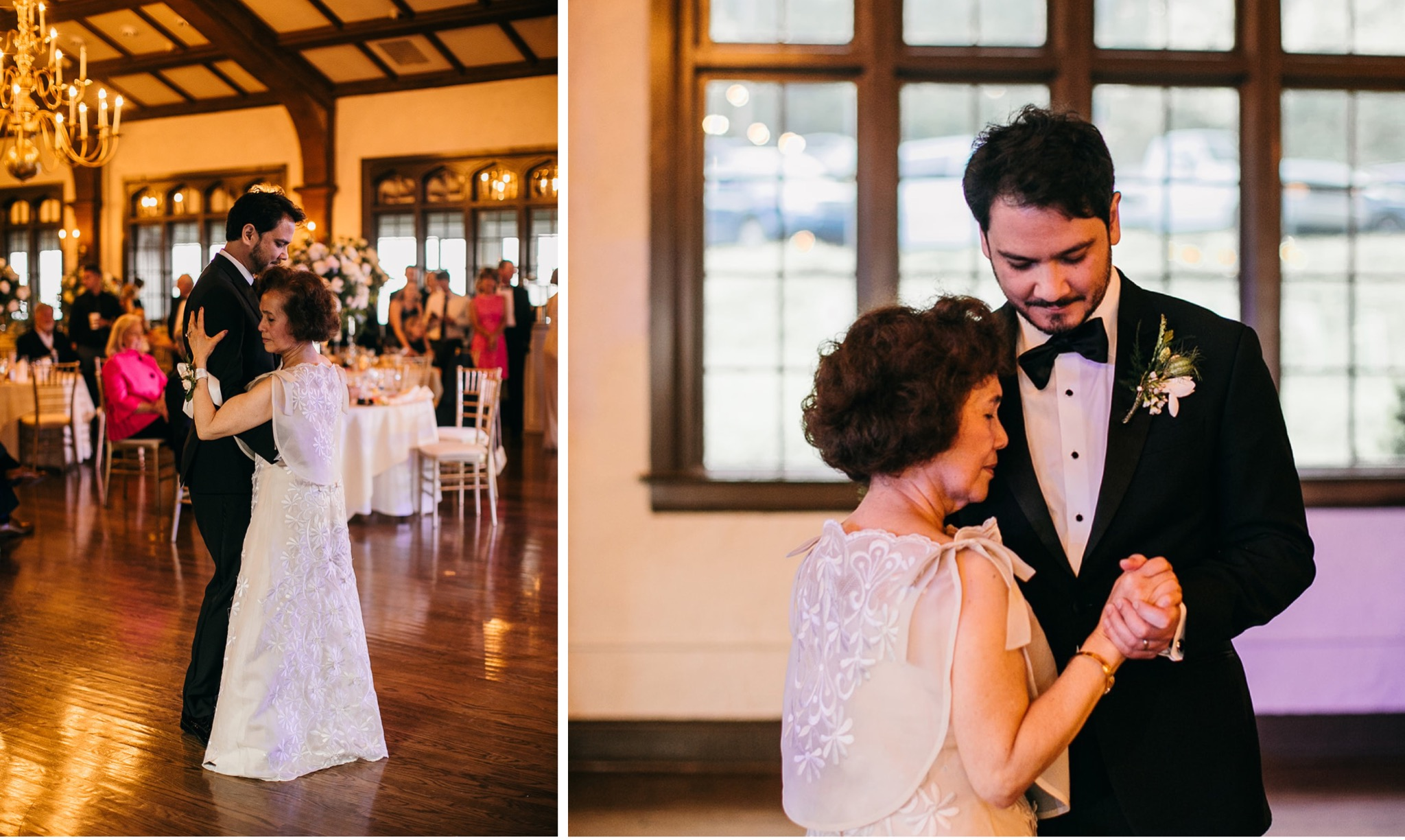 groom and his mother dance closely together during his wedding reception