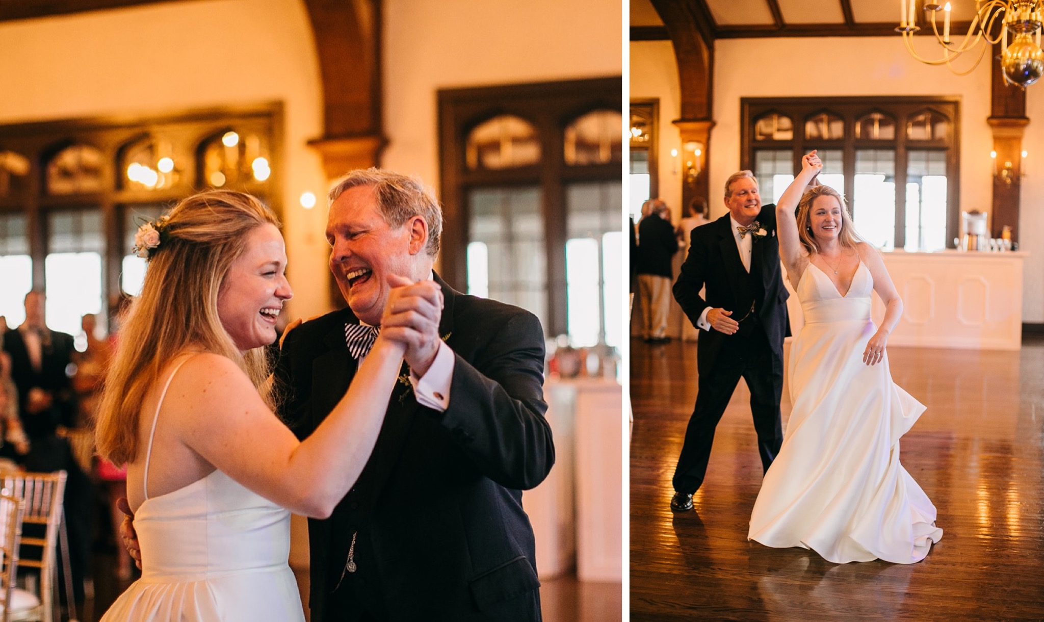 bride and her father laugh while sharing their dance at the Lookout Mountain Club wedding reception