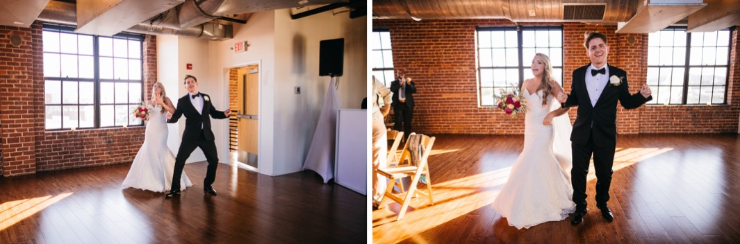 Bride and groom walk into their reception of their wedding at the Turnbull building and cheer.