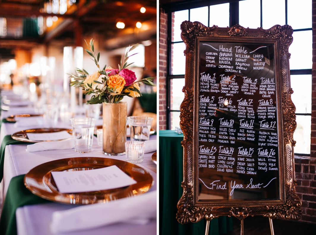 Peach and pink roses sit in a gold vase as a centerpiece on the table at the reception of the wedding at the Turnbull building. Seating chart written on a mirror with a gold border.