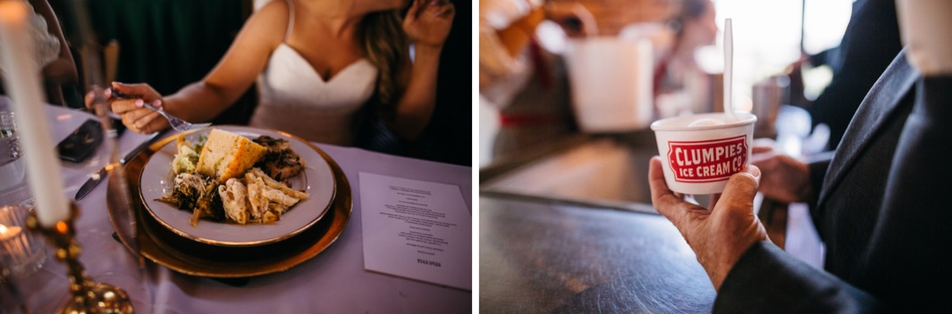 Bride eats her meal during her reception of her wedding at the Turnbull building. Clumpies ice cream is served as a dessert to the wedding guest.