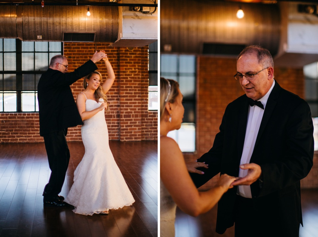 Bride shares her first dance with her father as he spins her around at her wedding in the Turnbull building.