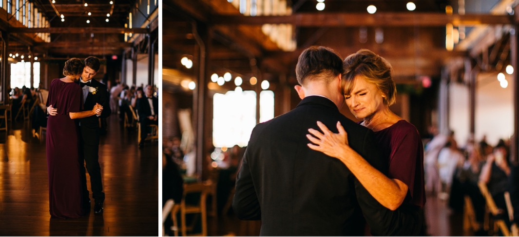 Groom shares a dance with his mother during the wedding at the Turnbull building.