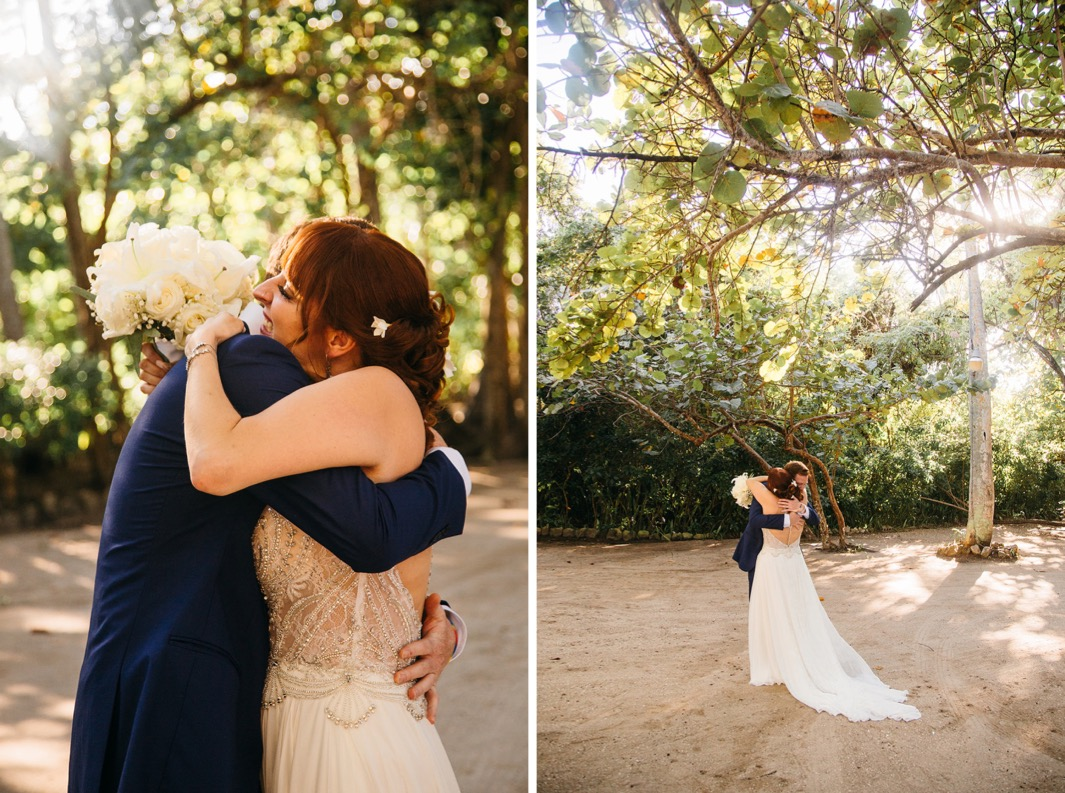 bride in sequin topped gown hugs groom in blue suit under lush trees as they elope in the Dominican Republic
