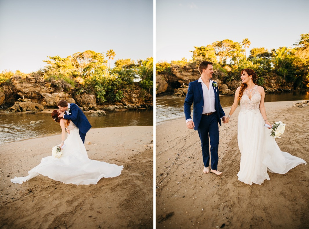 bride and groom on private beach after they elope in the Dominican Republic