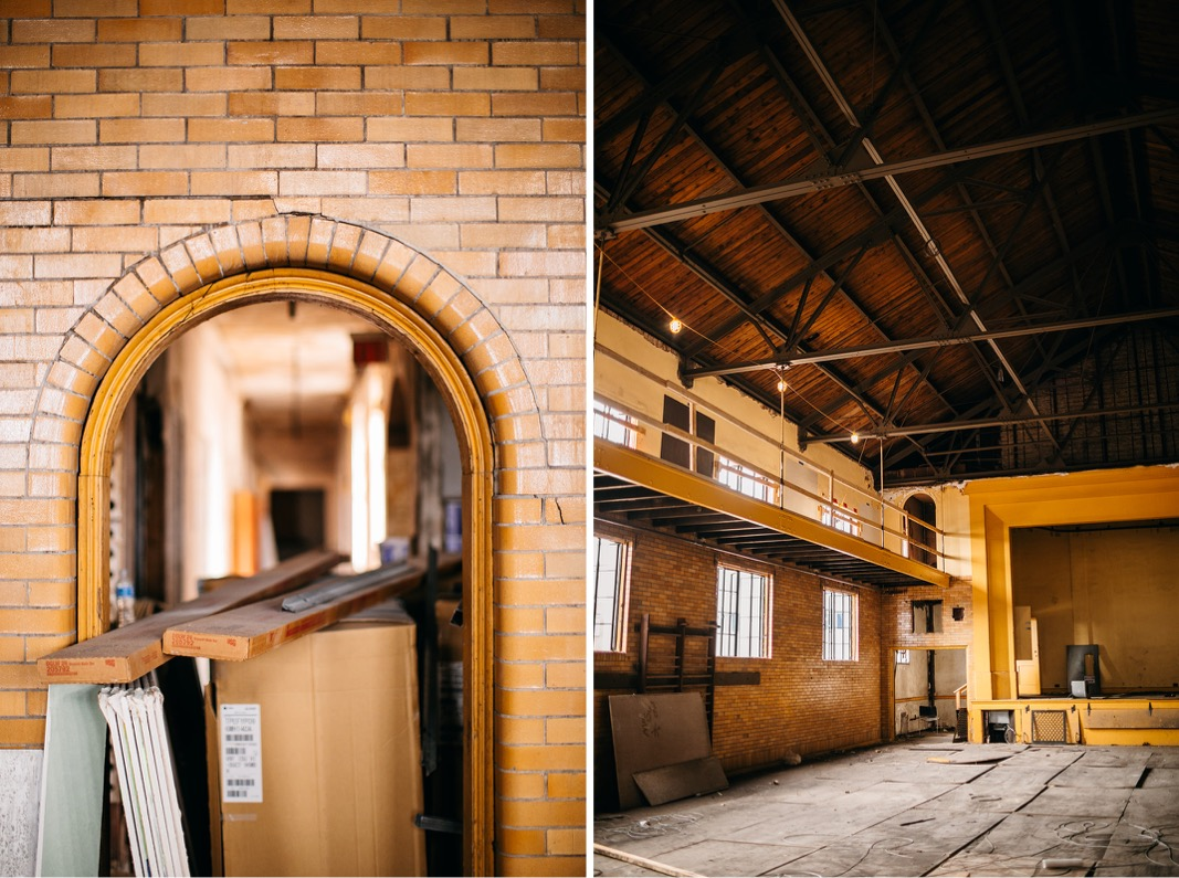 high peaked ceiling, open rafters and small, arched doorway covered in a yellow brick of Common House Chattanooga's Ruby Hall