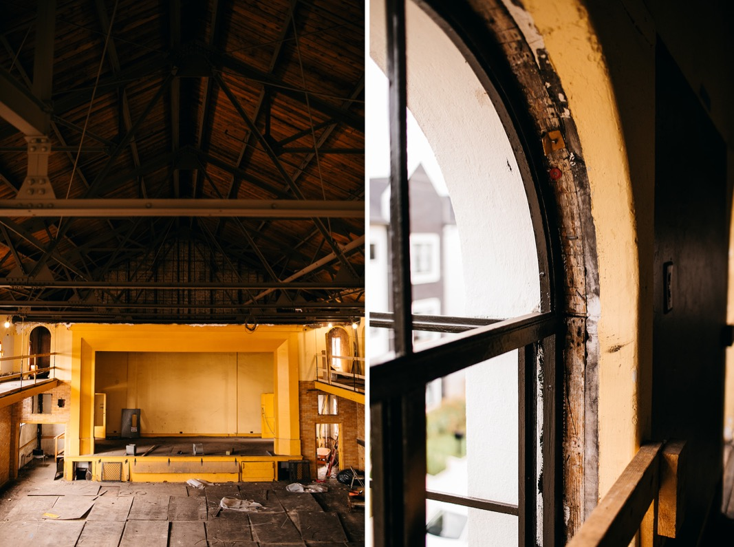 high peaked ceiling, open rafters and arched upper window of Common House Chattanooga's Ruby Hall