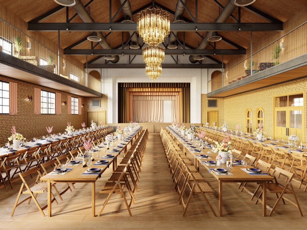 professional rendering of Common House Chattanooga's Ruby Hall lined with dining tables and chairs under chandelier and stage