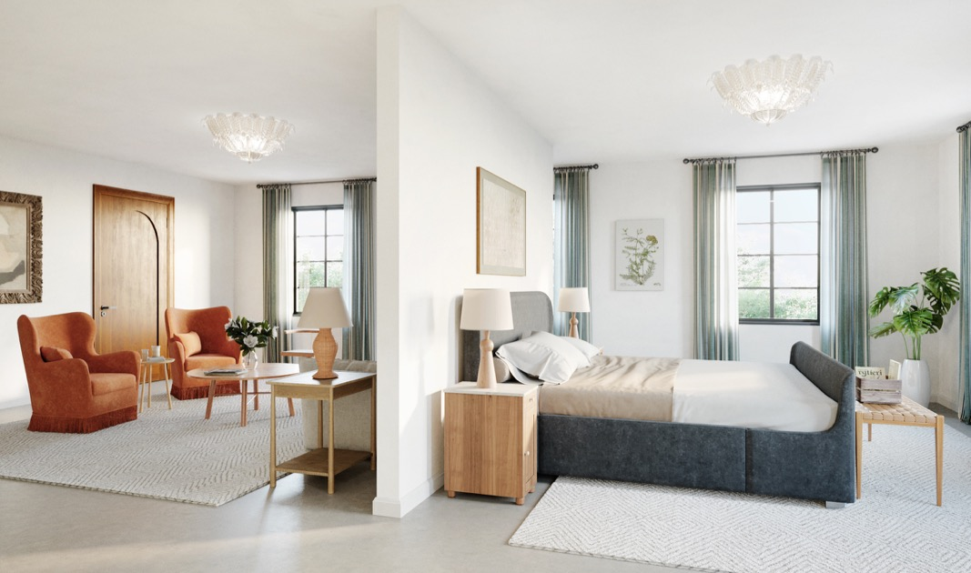 professional rendering of Common House Chattanooga's hotel suite/getting ready room with bed and living room furniture