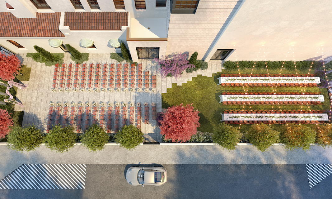 professional rendering of Common House Chattanooga's private walled garden set with chairs for wedding ceremony and reception