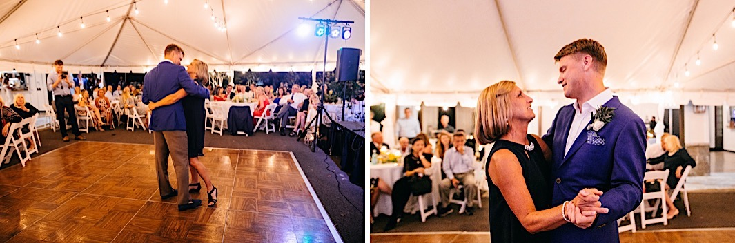 A groom shares a first dance with his mother under a white tent.