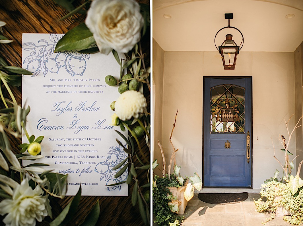 A blue and white wedding invitation surrounded by olive branches and white flowers. Next, an image of a dark blue door on a white home facade.