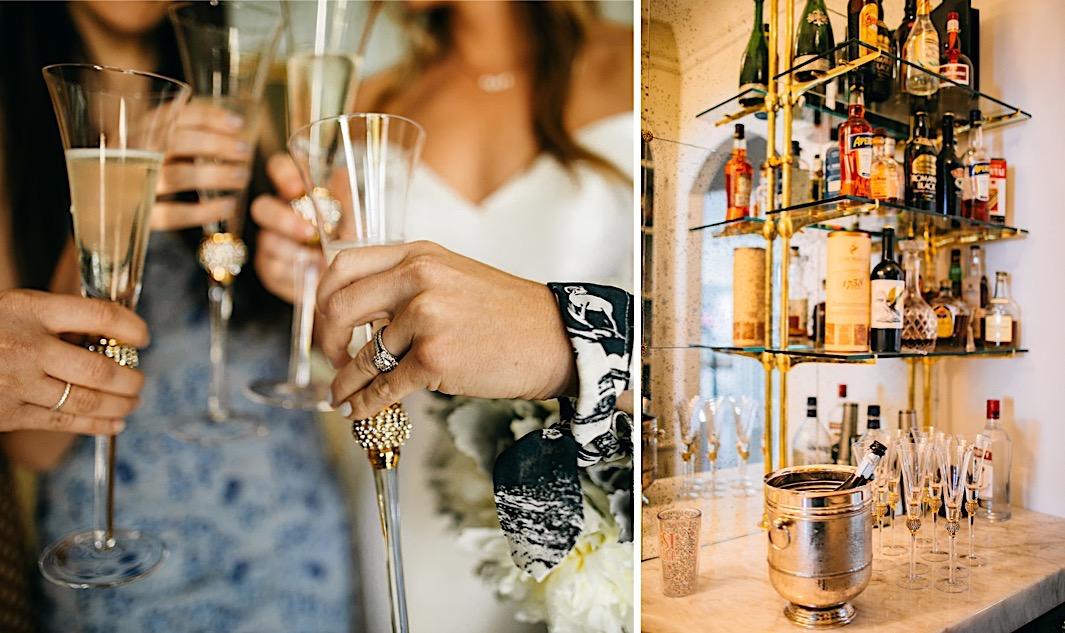 Wedding guests cheers with champagne flutes.