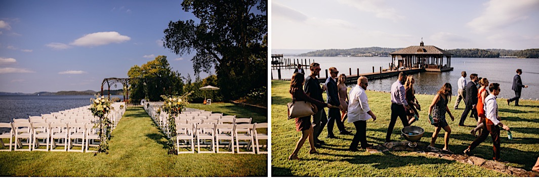 Wedding guests file to their seats on the edge of a lake.