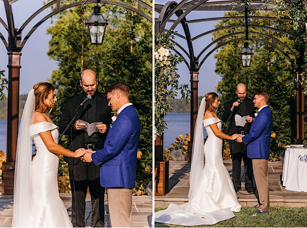 A bride and groom exchange vows at their big backyard wedding.