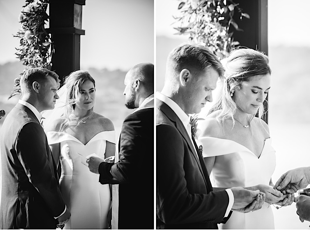 A bride and groom take communion together for the first time as man and wife.