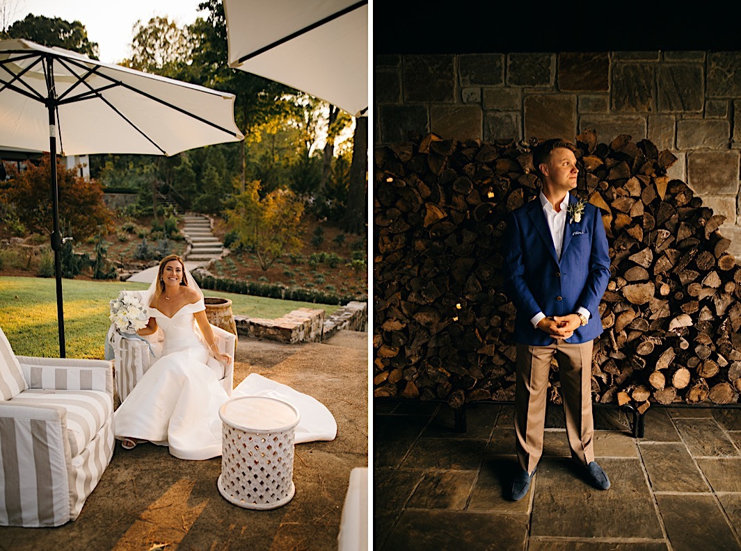 A bride sits and poses in a white chair outdoors. A groom stands and poses in front of a woodpile.