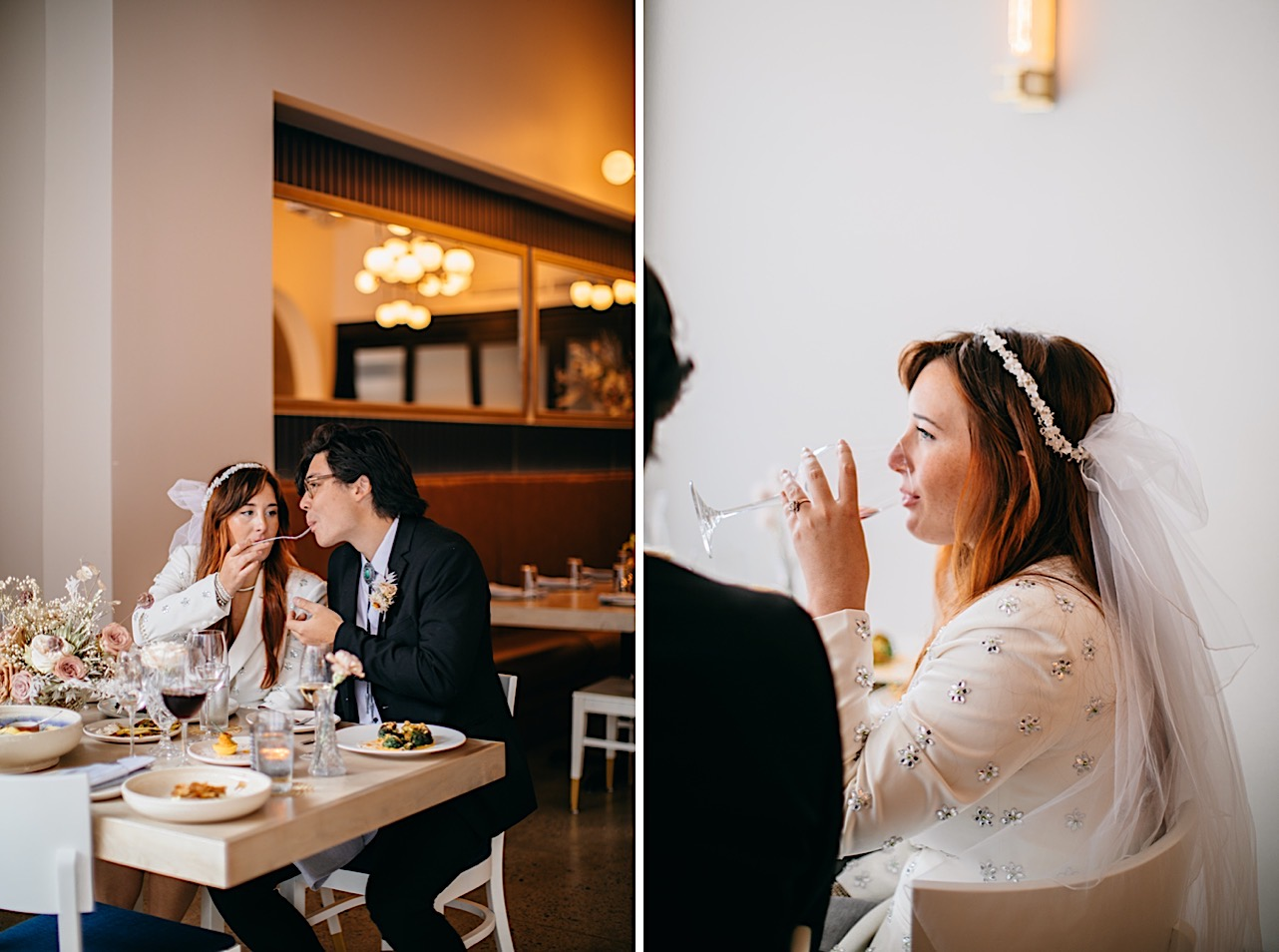 A bride and groom eat and drink wine at a table at Easy Bistro & Bar in Chattanooga.