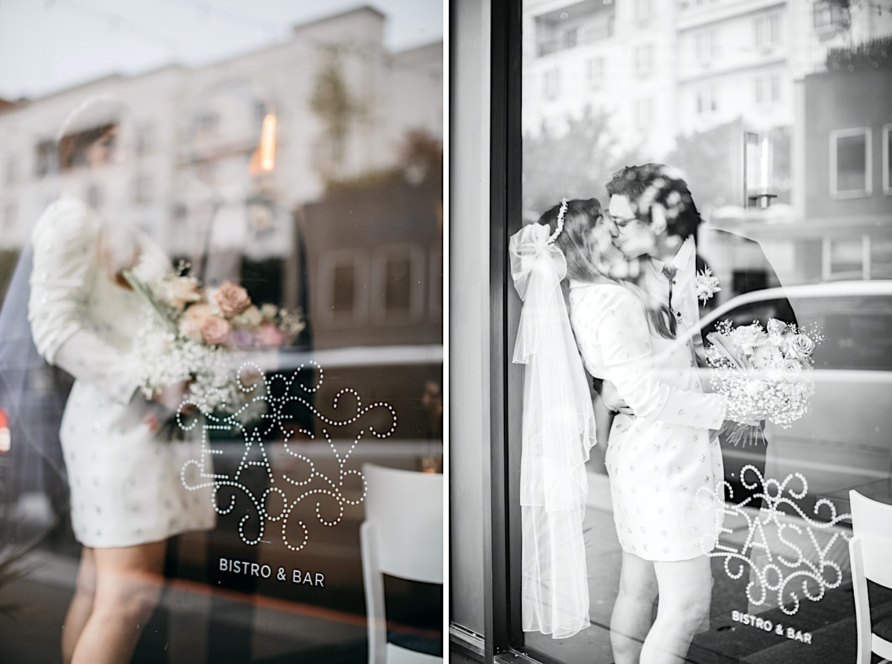 Reflections of downtown Chattanooga in the window of Easy Bistro & Bar as a bride and groom kiss inside.