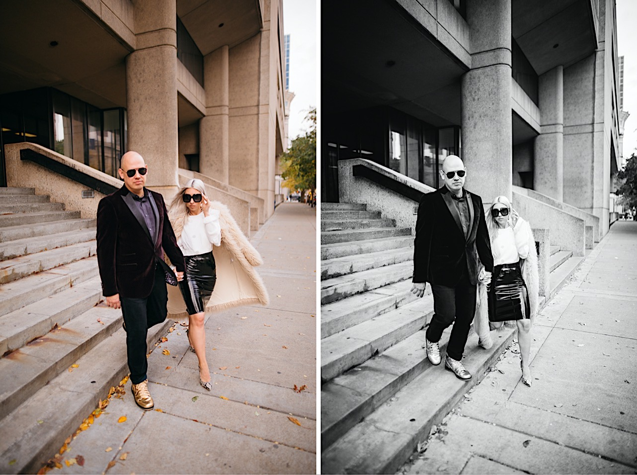 bride and groom are holding hands while walking down the steps of the courthouse at their halloween elopement