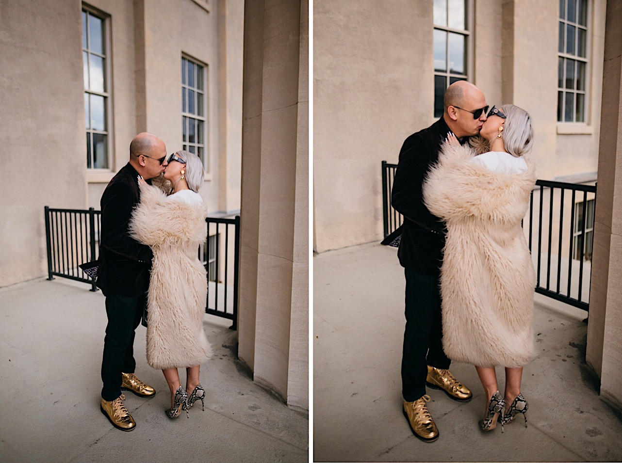 bride and groom share a kiss at their halloween elopement