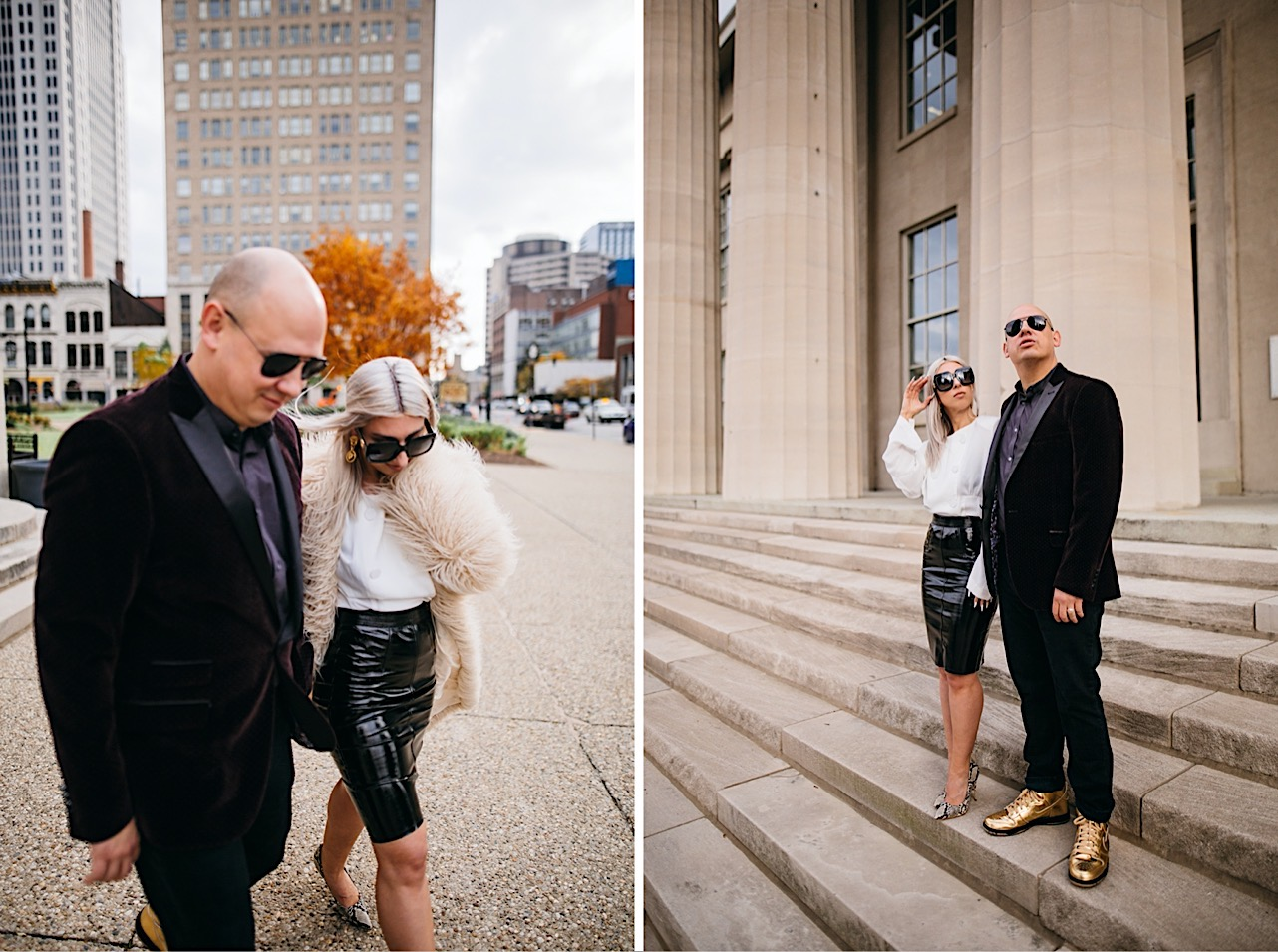 bride and groom are holding hands and walking across the street at their halloween elopement