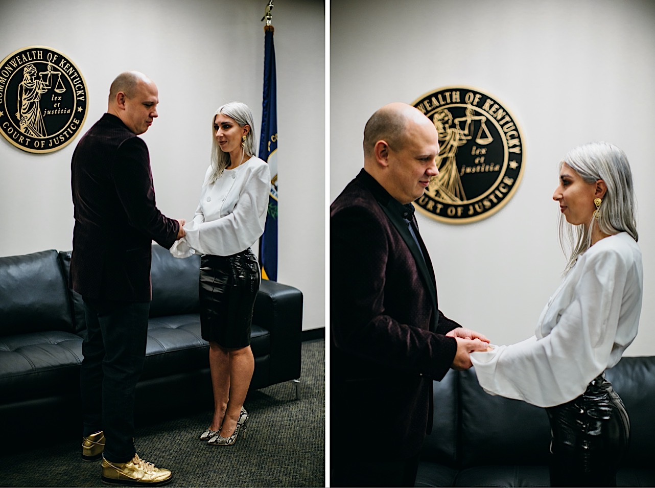 Halloween elopement at the court house where bride and groom read their vows