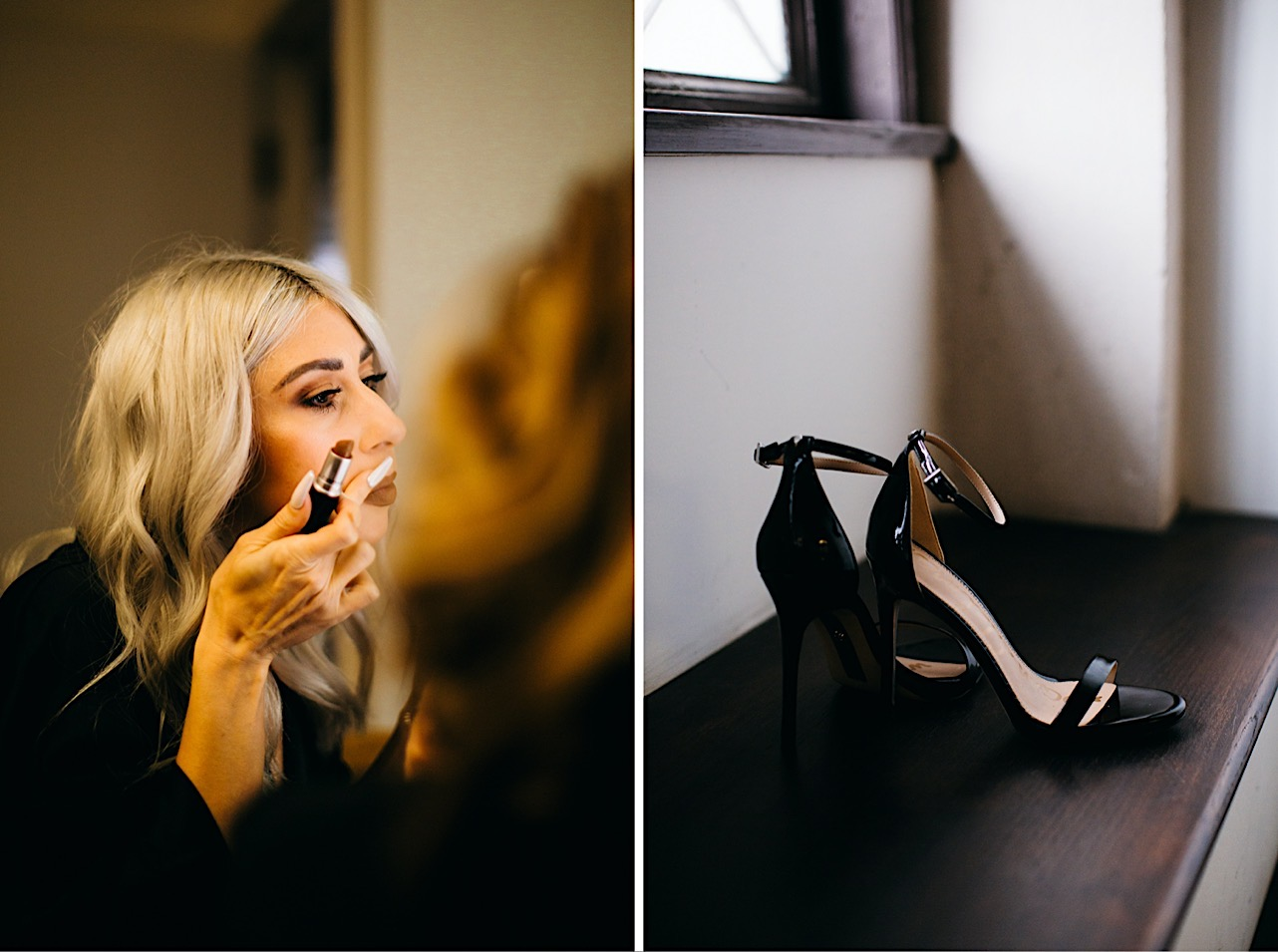 bride puts on lipstick while getting ready at her halloween elopement