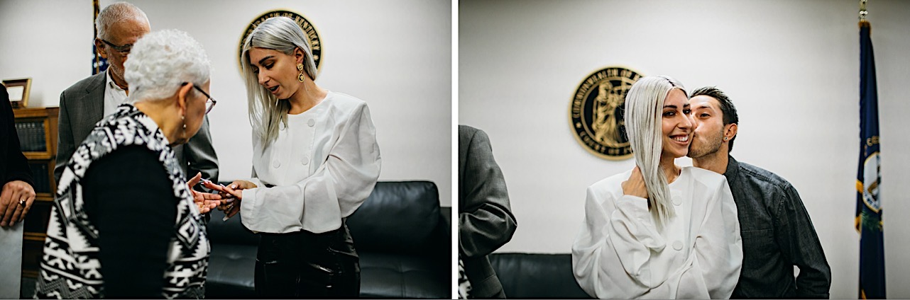 bride recieves a kiss on the cheek from her family memeber at her halloween courthouse elopement