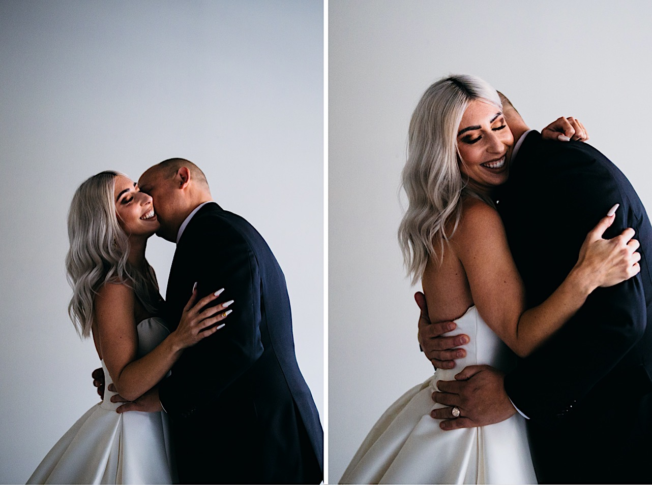 bride and groom share a kiss and a hug at their halloween elopement