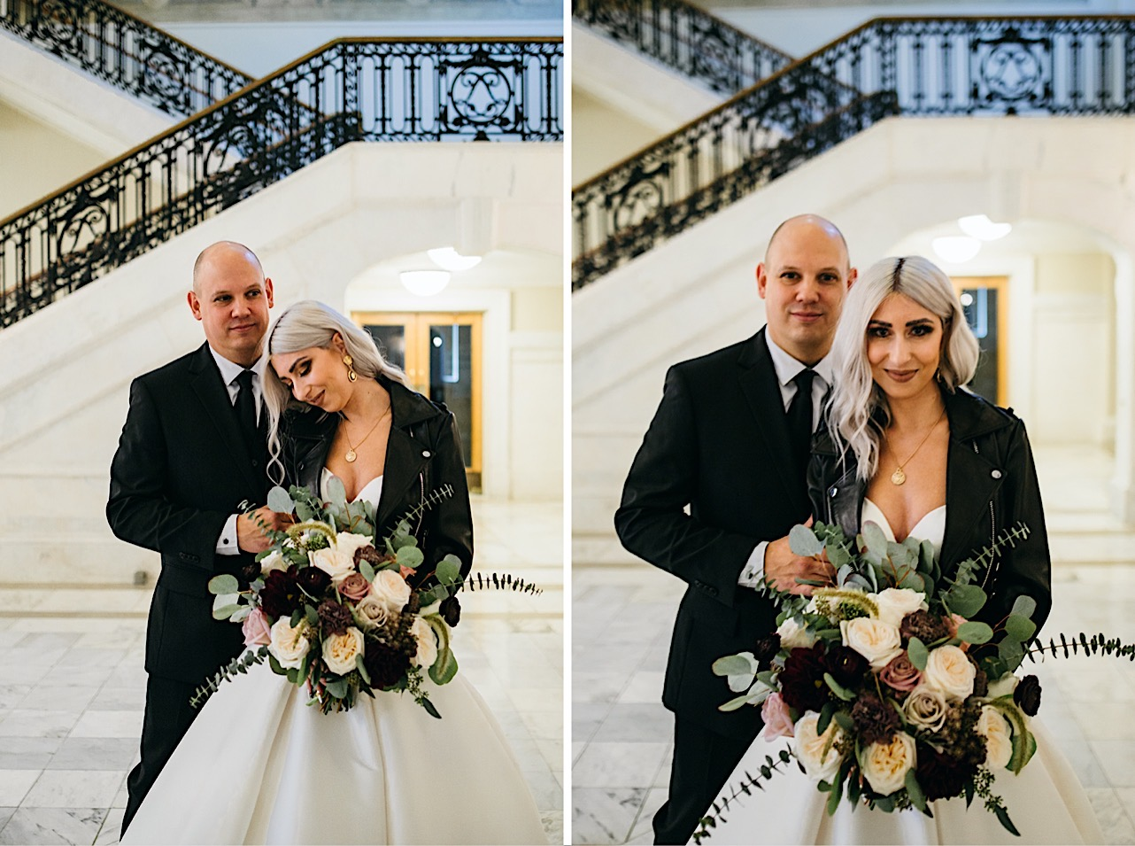 bride smiles and rests her head on grooms shoulder at their halloween elopement