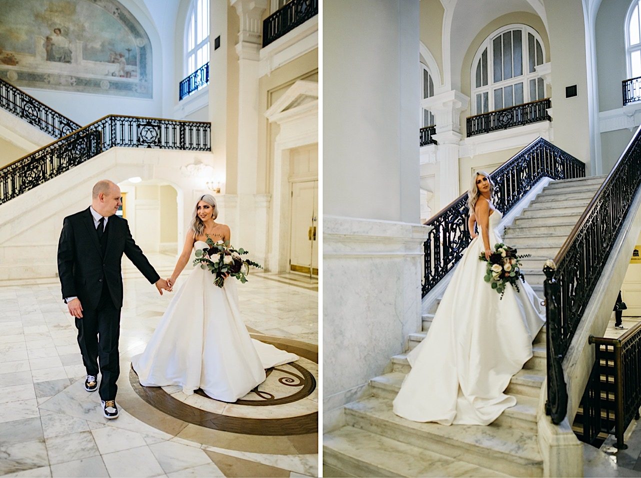 bride holds grooms hold as they walk through the courthouse at their halloween elopement