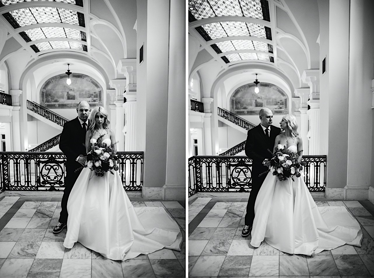 bride holds groom as they look at each other during their halloween elopement