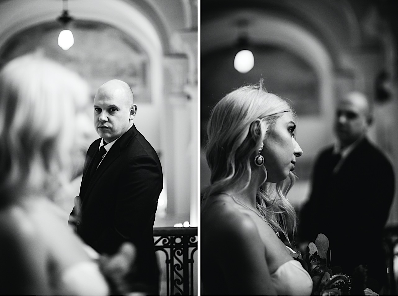 groom looks at bride at their halloween elopement