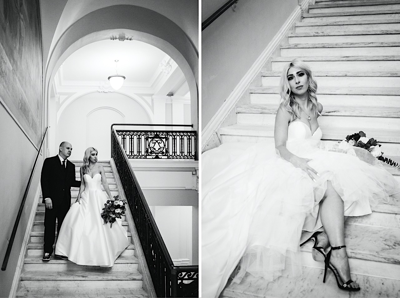 bride and groom walk down the stairs of the courthouse as they look off into the distance at their halloween elopement