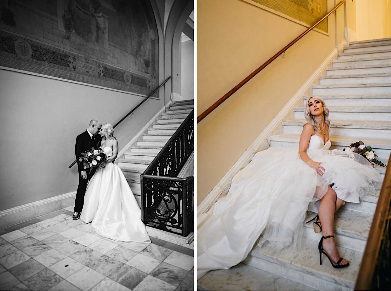 bride takes a seat on the staircase at the courthouse showing her heels at her halloween elopement