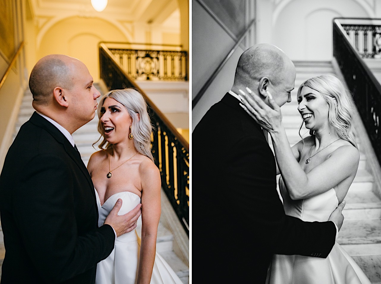 bride and groom touch foreheads at their halloween elopement