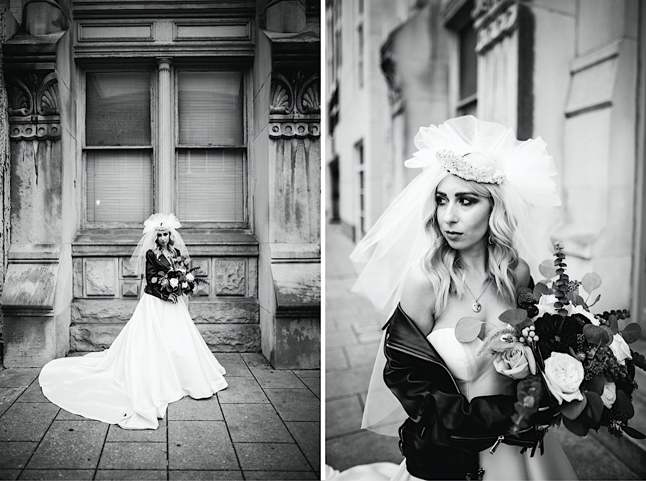 bride holds her bouqet and looks down at her halloween elopement