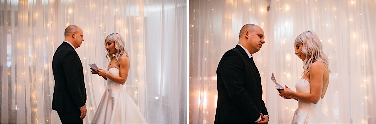bride and groom exchange vows at their halloween elopement