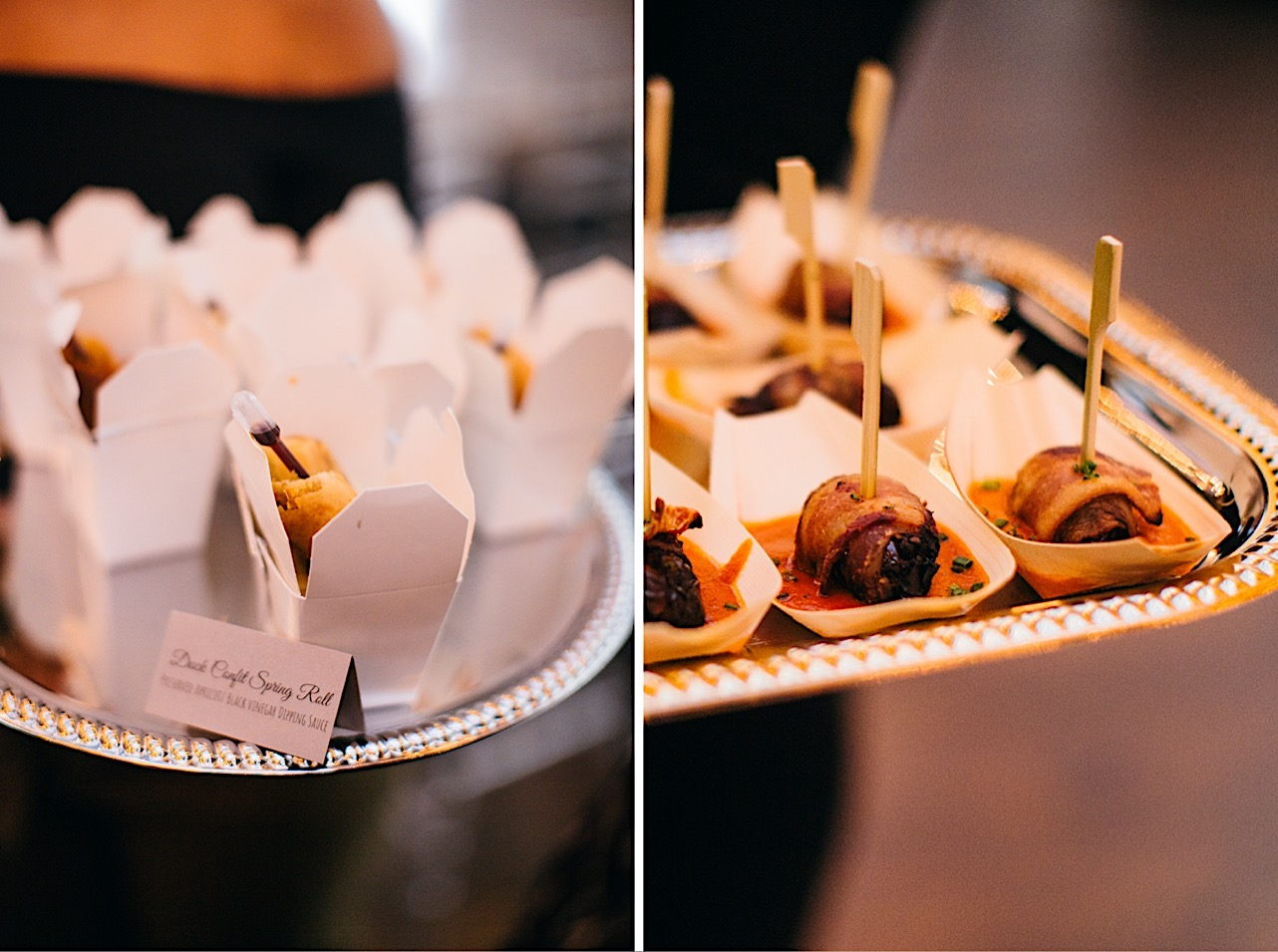 appetizers are passed around during the bride and grooms halloween elopement