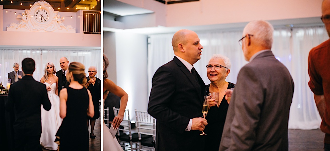 bride and groom talk to friends and family at their halloween elopement