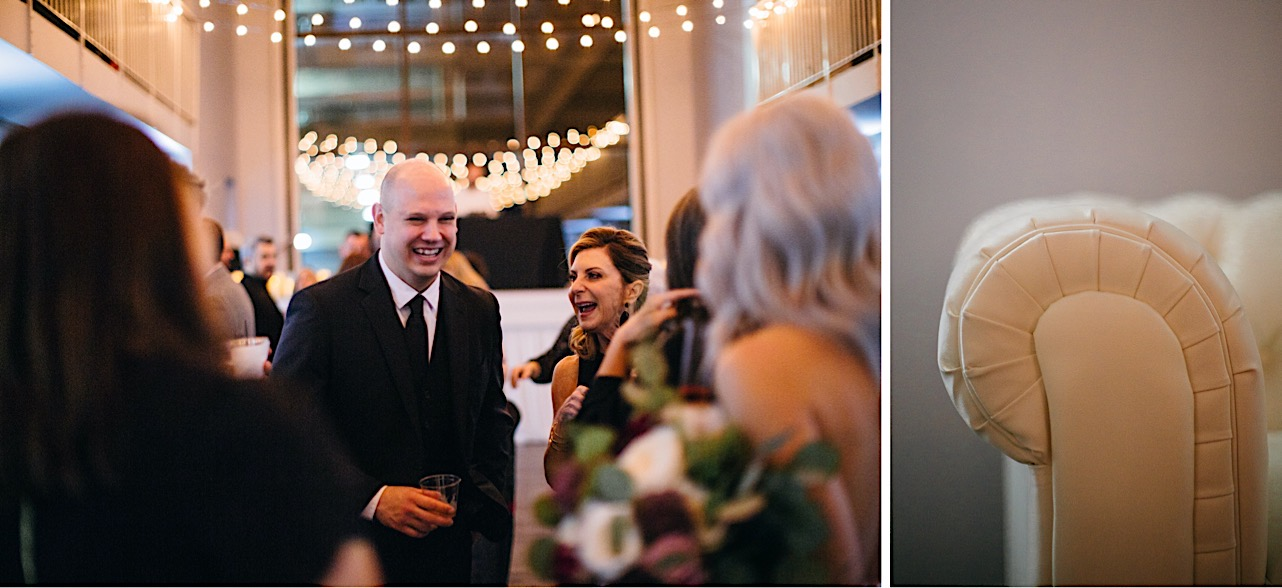 bride and groom take pictures with their family at their halloween elopement