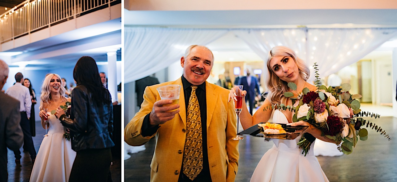bride holds her drink and food while taking a silly photo at her halloween elopement