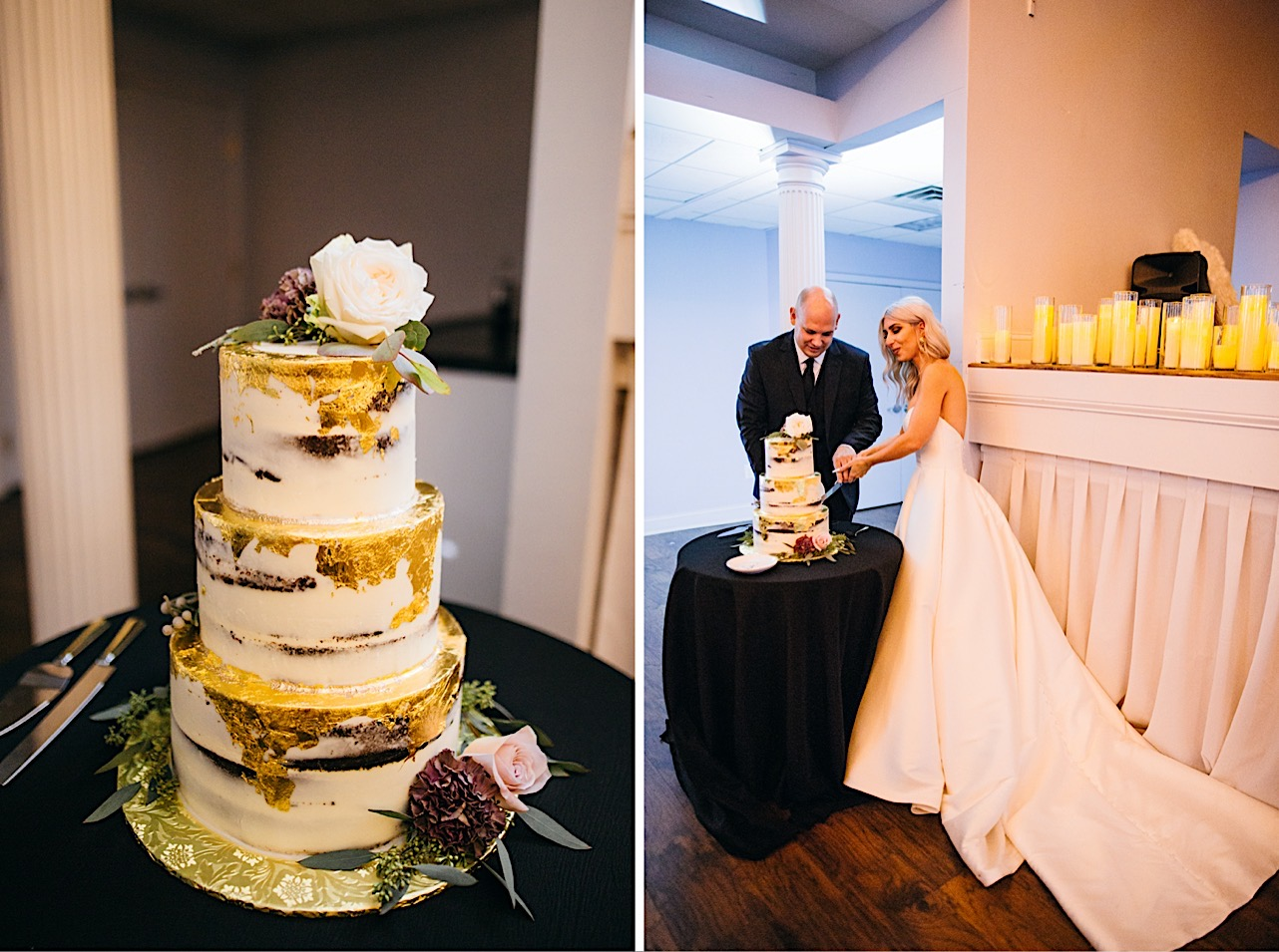 bride and groom share a laugh as they're cutting their cake during their halloween elopement