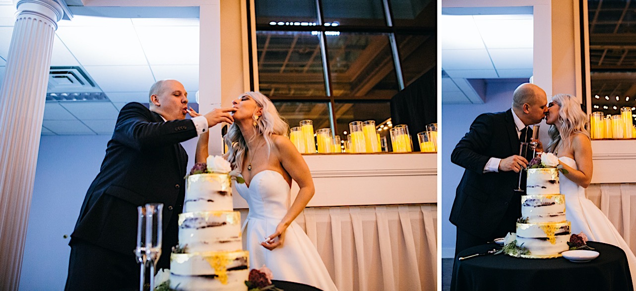bride and groom feed each other cake and drink champange at their halloween elopement
