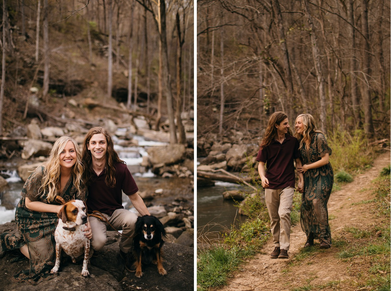 An engaged couple poses with their brown and white speckled dog in front of Middle Creek.