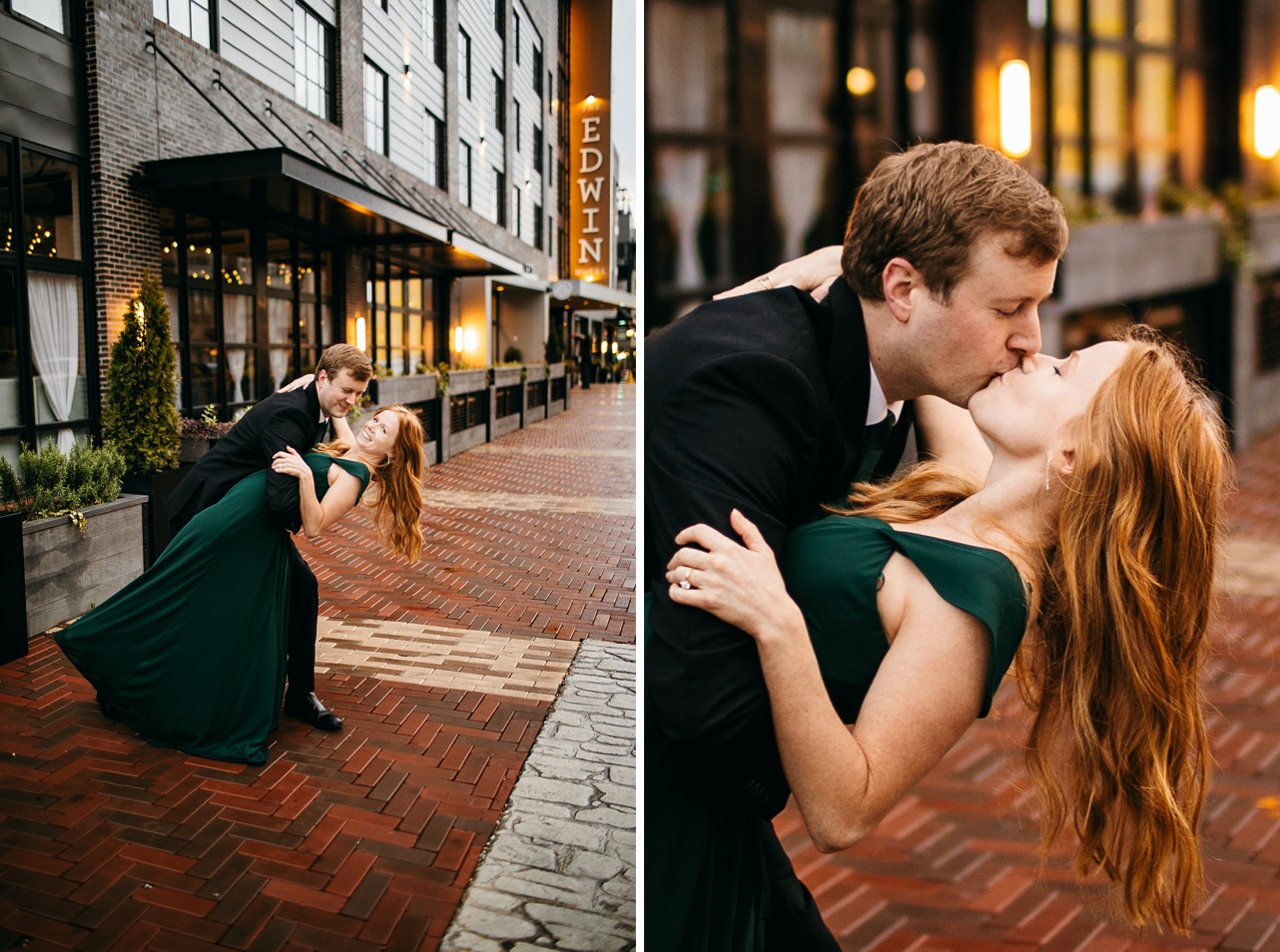 A man dips and kisses his fiancé wearing an emerald gown on a street in downtown Chattanooga.