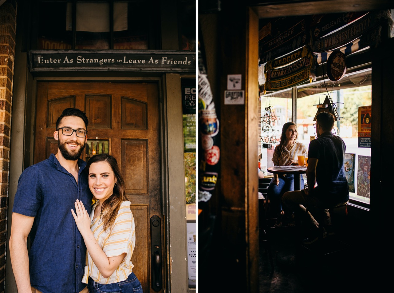 A couple embrace and pose for a photo outside the door of their favorite bar.